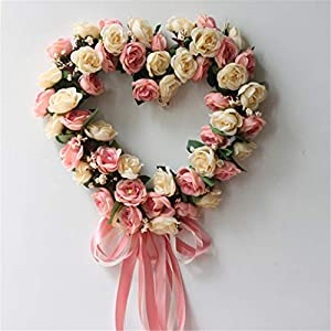 LYFWL Christmas Wreath Simulation Silk Flower Decoration Flower Artificial Flower Silk Cloth Heart-Shaped Rose Wreath Door Trim Knocker Home Decoration 35cm Pink Wedding Wreath 34