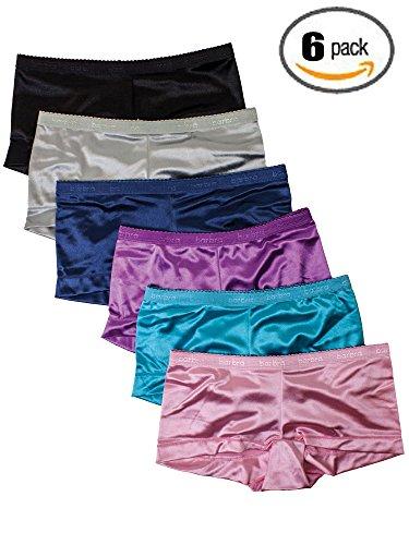 Underwear Women 6 Pack Satin Panties Set Boyshorts from S to Plus Size (5XL)