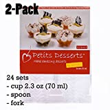 30% LONGER USE with included free sets of spoons and forks which you can reuse.  100% SATISFACTION money back guarantee.  INCLUDED in ONE PACK:  ✅ Recipe e-book with (20 recipes for desserts in cups)  ✅ 24ct Small dessert cups size: 2.3oz (70ml), hei...
