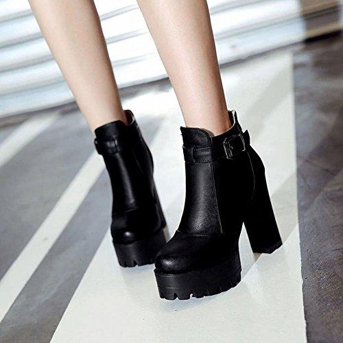 ... Mee Shoes Damen chunky heels Plateau runde Reißverschluss Ankel Boots  Schwarz ...