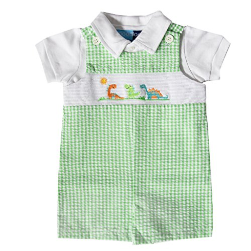 Good Lad Newborn/Infant Boys Green Seersucker Smocked Shortall with Dinosaur Embroideries -