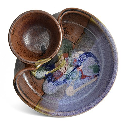 Larrabee Ceramics Shrimp and Dip Bowl, Burgundy/Multi