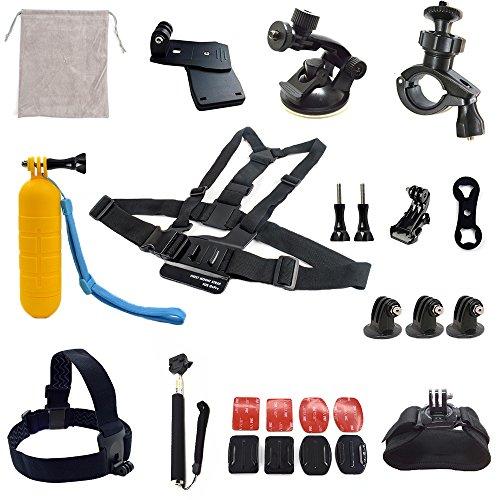 ADIKA® Sport Accessories Kit for Gopro Hero 4 Session 4 3+ 3 Black Silver and SJ4000 SJ5000 SJ6000 by Adika (24 Items)