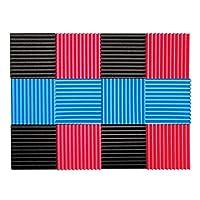 SODIAL 12 Pcs Acoustic Panels Soundproofing Foam Acoustic Tiles Studio Foam Sound Wedge Black+Red+Blue