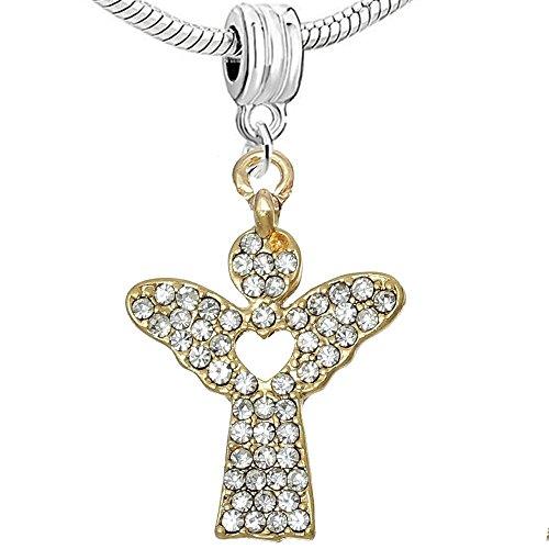 Sexy paillettes Femme Charms Ange Gardien avec Cœur en strass Centre Transparent Couleur pour chaîne serpent Bracelets