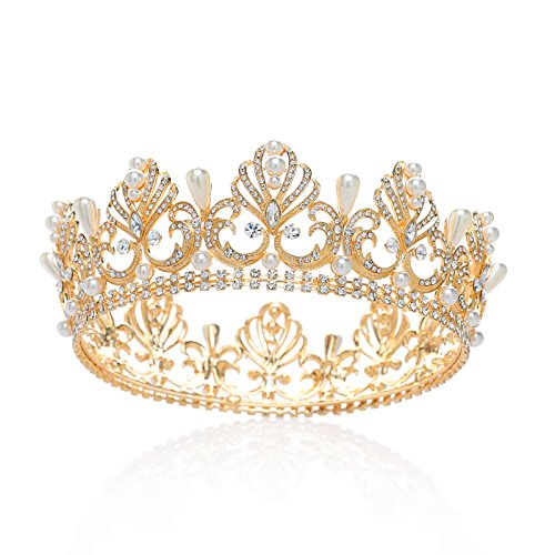 SWEETV Round Crown Pearl Crystal