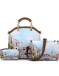Realer Women's PU Leather New Vintage Handbag Big Tote Bags Female Crossbody Bags 3 Sets