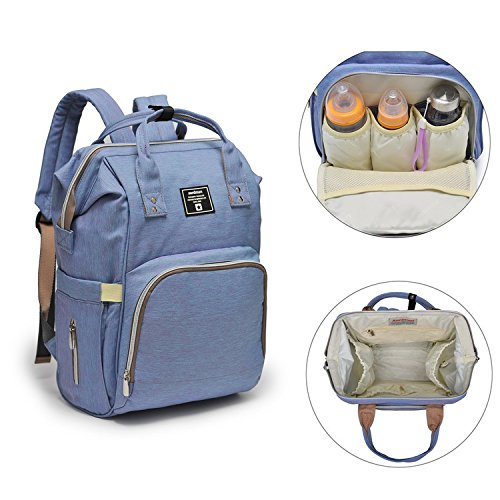 iDxiar Nappy Changing Backpack,Hands-free Diaper Bag Rucksack w Waterproof Changing Mat,Stroller Hook,Insulated Pockets, Mum Dad Backpack Purple