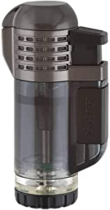 Xikar Tech Quad Jet Flame Lighter, 4 Flames, Ergonomic Design, Auto-Open Lid, Oversized Fuel Tank, Black
