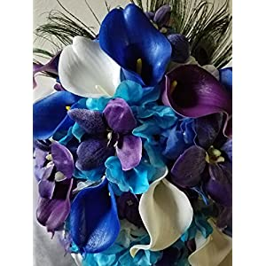 Purple Blue Turquoise Orchid Calla Lily Bridal Wedding Bouquet & Boutonniere 52