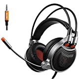 GT SADES SA929 3.5mm Gaming Headset with USB vitural 7.1 Channel Audio Conversion Line, Over Ear Headphones with Mic Noise Canceling and Volume Control for PC/MAC/PS4/XBOX ONE/Phones (Black/Orange)