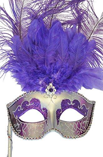 Pure Seasons Colombina Vanity Fair Venetian Mask (Purple/Silver)-Standard