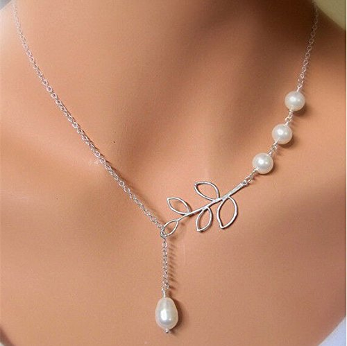 - 1pc Silver Tone Chic Elegant Pearls Hollow Olive Branch Leaf Pendant Necklace Chain JO3Z
