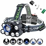 XULUOQI Headlamp, Brightest LED Headlamp,USB Rechargeable Headlamp Flashlight - 8000 Lumens Waterproof and Comfortable Headlamp 7-Light 6-Mode Super Bright Outdoor Camping Fishing Headlamp