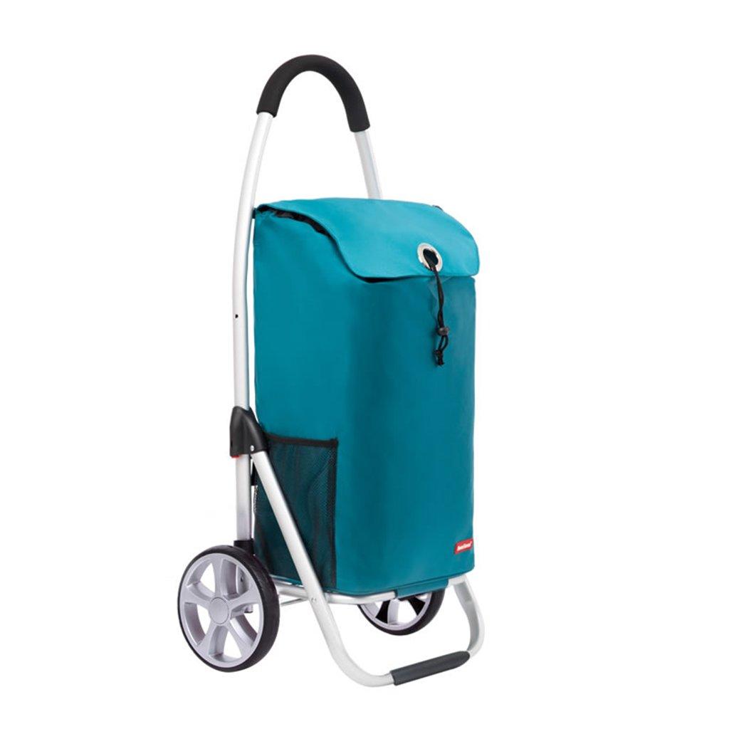 折り畳みトロリー車軽量アルミショッピングカート多機能プッシュショッピングカート、100 * 46 * 20.5cm (Color : Blue)  Blue B07FMJ5M21