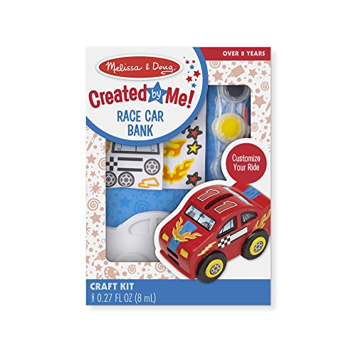 Melissa & Doug Decorate-Your-Own Race Car Bank Craft Kit (Art Supplies Easter Gift)