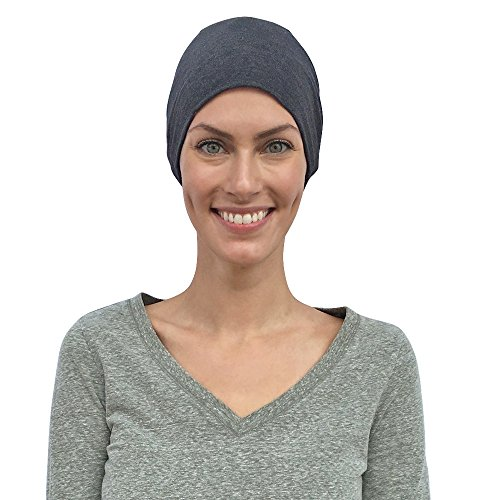 Cancer Hats for Women, Chemo Caps, 100% Organic Cotton, Sleep Headwear Gifts for Patients (Medium/Large, Grey) by Cate and Levi