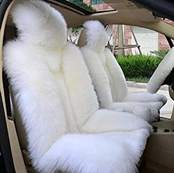 Gray Premium Quality Australian Sheep Skin Car Short Wool Front Seat Cover