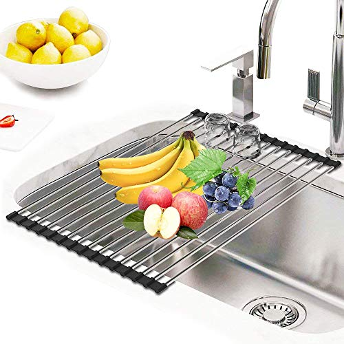 Roll Up Dish Drying Rack, Stainless Steel Over the Sink Dish
