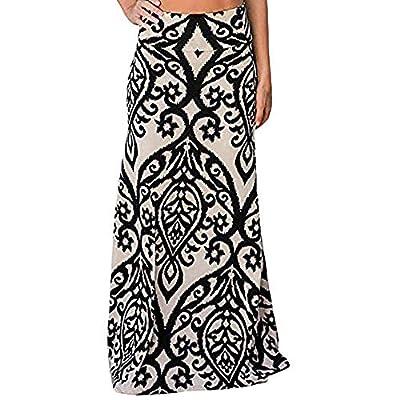 UOFOCO Long Maxi Skirt for Womens Print Skater Skirt Ladies Vintage Coral High Waist