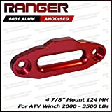 "Ranger ATV Aluminum Hawse Fairlead for 2000-3500 LBs ATV Winch 4 7/8"" (124MM) Mount by Ultranger Glossy (Red)"