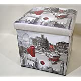 London Attractions Foldable Ottoman Foot Stool/Storage Cube