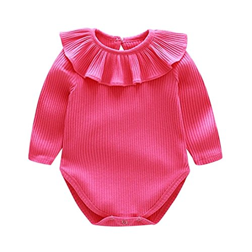 Hatoys Cute Baby Boy Girls Solid Ruffles Jumpsuit Outfits Clothing Romper (18M(Height:95-100CM), Hot (Baby Hot Dog Costume Pattern)
