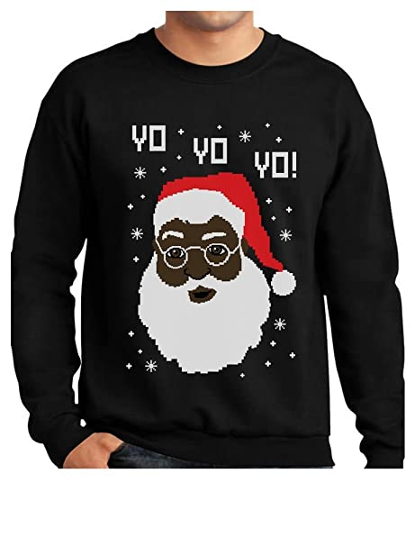 tstars yo yo yo black santa ugly christmas sweater sweatshirt small black
