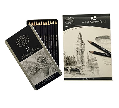 (Spot on Products Artist Grade Sketch Kit. Set of 12 Pencils in Travel Metal Tin. Graded Shades of Black, Gray for Drawing in Varying Depth and Tones. Comes with 12 Sheets A5 Art Sketching Pad)