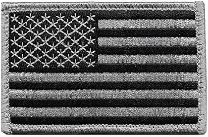 GREY//BLACK PUNISHER SKULL AMERICAN FLAG MORALE PATCH NEW w// Hook /& Loop Fastener