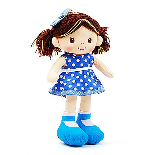 Sofia Fabric Rag Doll Blue Polka Dot Dress 16 Inch (Baby Doll Brown Hair)