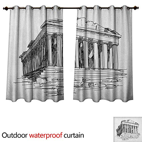 Antique Outdoor Ultraviolet Protective Curtains Hand Drawn Greece Pantheon Sketch Antique Roman Historical Cultural Heritage Print W55 x L45(140cm x 115cm)