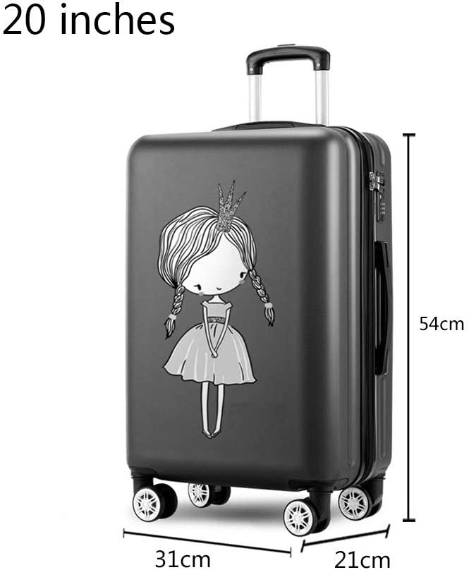 Color : Black, Size : 31cm21cm54cm LEYOUDIAN Laganxiang Box Trolley case Female Suitcase Universal Wheel Small Light Cute Suitcase Male Password Box