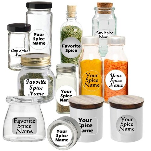 Premium Spice Jar Labels Custom Set of 30 Circle-White Bold