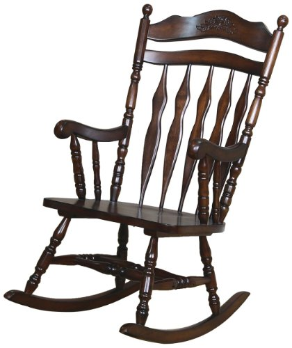 Coaster Home Furnishings  Traditional Nostalgia Arrowback Turned Leg Rocking Chair with Hand Carved Details – Walnut