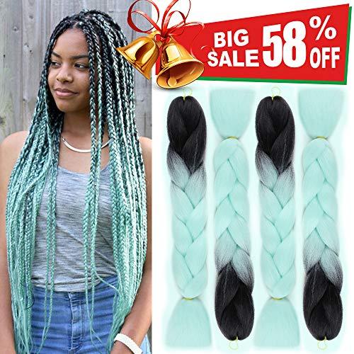 Ombre Jumbo Braiding Hair Extensions 4Pcs/Lot 100g/pc Kanekalon Synthetic Fiber for Twist Brading Hair(Black-Light Green) ()