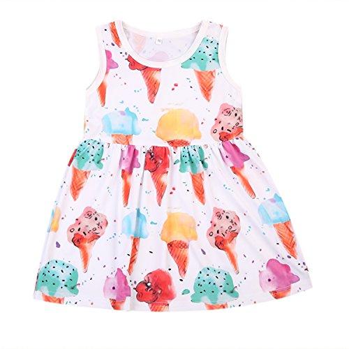 Newborn Baby Girls One-piece Sleeveless Dress Ice Cream Print Party Casual Summer Sling Sundress Skirt (1-2Years)