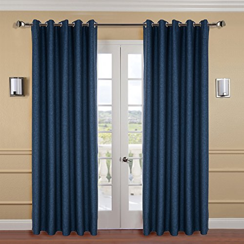 "IYUEGO Classical Frosted Solid Faux Linen Thermal Insulated Curtain, Grommet Room Darkening Draps with Multi Size Custom 84"" W x 102"" L (Set of 1 Panel) Window Treatments Draperies & Curtains Panels"