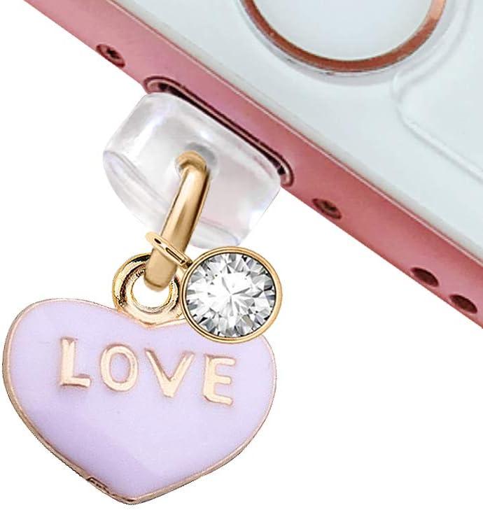 CP10 USB Charging Port Anti Dust Plug Cute Purple Love Heart Pendant Phone Charm for iPhone 11/ XS MAX/XR/X/8 Plus/7/6S/6/SE iPad iPod