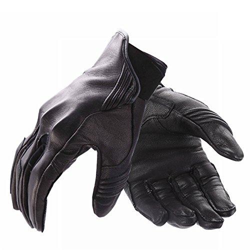 Avantwolf Imported Lambskin Leather Motorcycle Gloves Mountain Bike Cycling Glove Shockproof Waterproof Wear-Resistant MTB Outdoor Sports Full Finger Motobike Glove(Black,L)