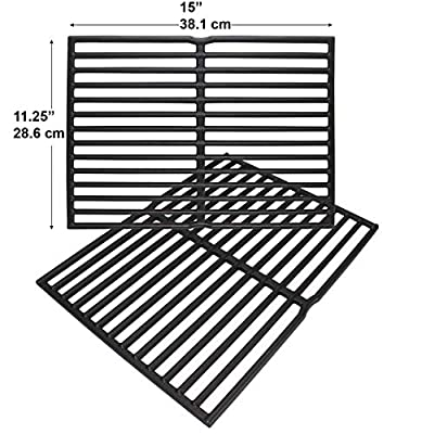 """Enamel Cast Iron Cooking Grates for Weber Spirit 200 Series (Without Front-Mounted Control Panel), Spirit 500, Genesis Silver A Gas Grills (Dims:15 X 11 1/4"""" Each Unit, 15 X 22 1/2"""" for 2 Units)"""