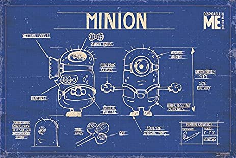 Amazon despicable me movie poster print minion blueprint despicable me movie poster print minion blueprint schematics the minions malvernweather