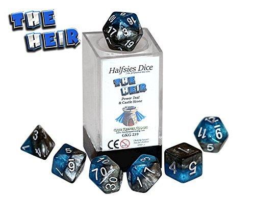 The Heir Halfsies Dice - 7 die polyhedral rpg gaming dice set - Power Teal & Castle Stone by Gate Keeper Games by Gate Keeper Games