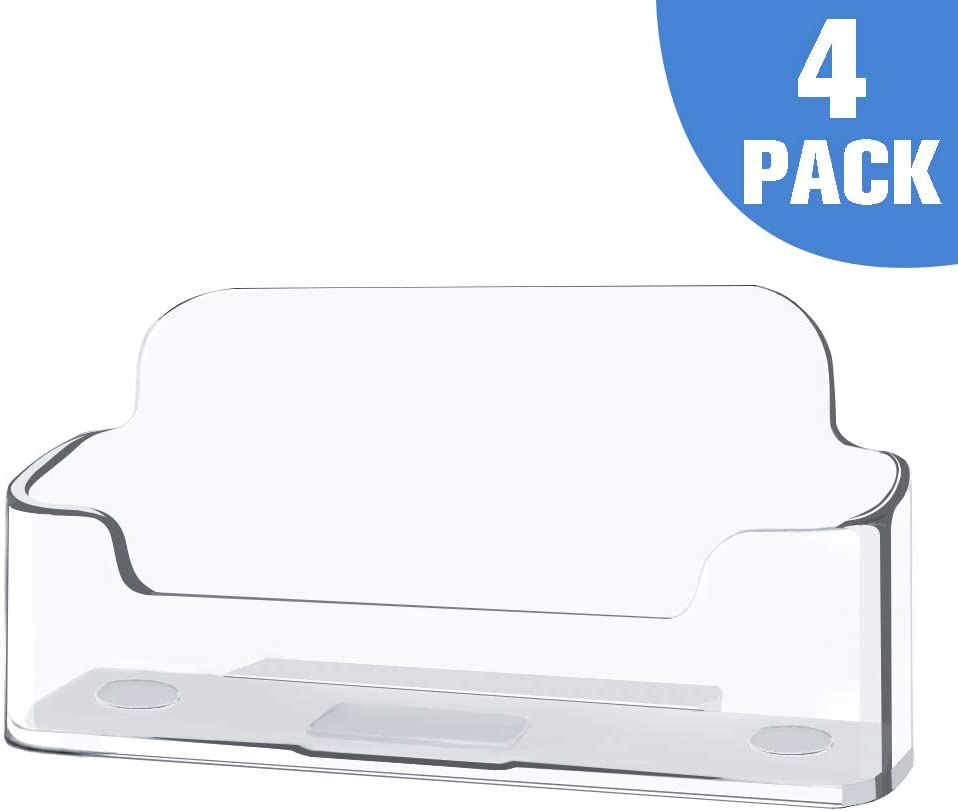 4 Pack Clear Plastic Business Card Holder,Acrylic Business Card Display for Desk Business Card Stand