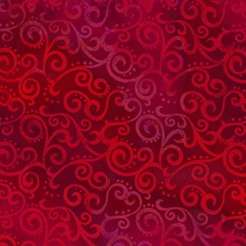 Quilting Treasures Fabrics Ombre Scroll 108 Inch Wide Quilt Back Ruby Red - Qt Ruby