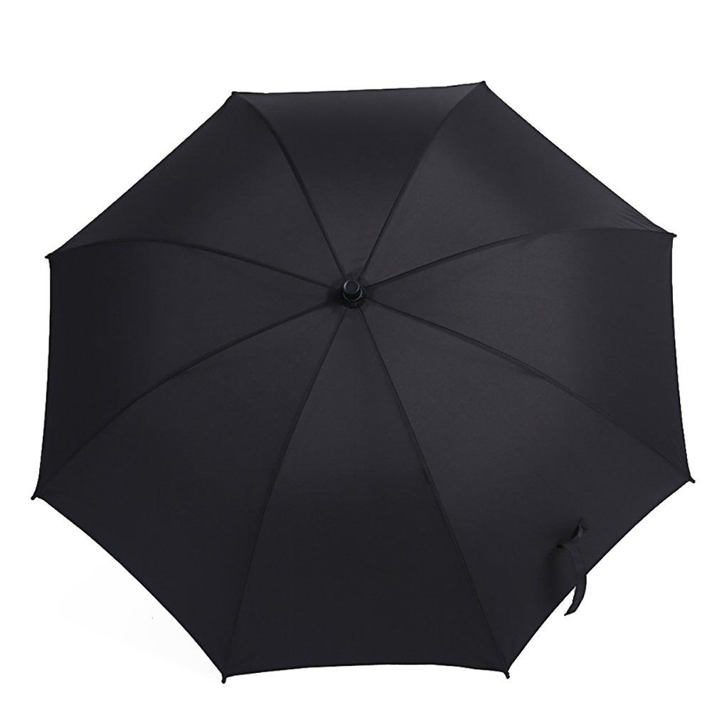 Long Handle Umbrella Travel Outdoor Portable Umbrella Bumbershoot with cover (Color : Black)