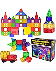 Desire Deluxe Magnetische Bausteine Magnet Montessori Spielzeug für Kinder, Lernspielzeug für Jungen und Mädchen, 3 4 5 6 7 8 Jahre alt, XXL Set mit 57 Teilen