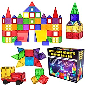 Desire Deluxe Magnetic Building Blocks Tiles STEM Toy Set 57PC – Kids Learning Educational Construction Toys for Boys…