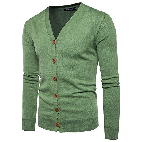Tricot Garçon Coton Col Moulant V Vert Bouton Décontracté Couleur Homme Uni En Elonglin Gilet Veste Cardigan Sweater Chandail Knit qTxvyYCE