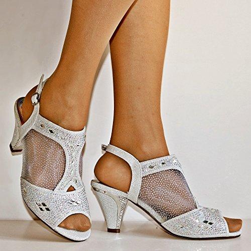 Rock en Estilos Mujer pedrería Fiesta Noche Boda Tacón Bajo Medio Zapatos sandals-1040 Plateado